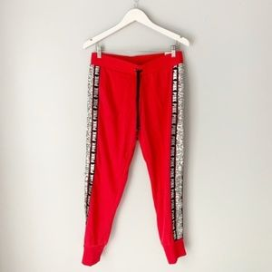 NWT Victoria's Secret pink red skinny jogger bling